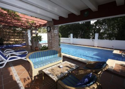 Pool with shaded terrace